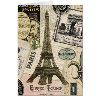 Modern Vintage French travel collage Card