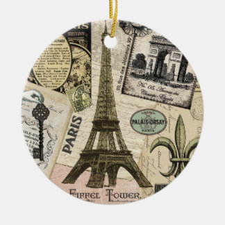 Modern Vintage French travel collage Christmas Ornament