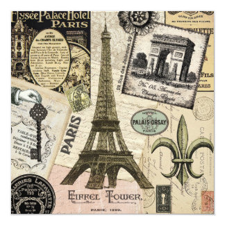 Modern Vintage French travel collage Personalized Announcements