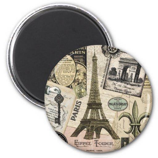 Modern Vintage French travel collage Fridge Magnets
