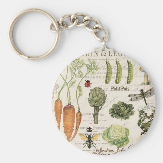 modern vintage french vegetable garden basic round button key ring