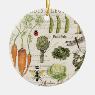 modern vintage french vegetable garden christmas ornament