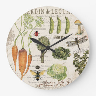 modern vintage french vegetable garden large clock