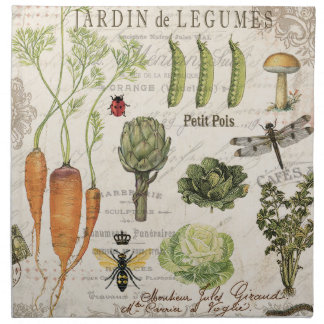 modern vintage french vegetable garden napkin