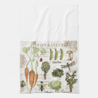 modern vintage french vegetable garden tea towel