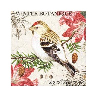 modern vintage french winter bird stretched canvas print