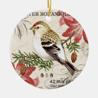 modern vintage french winter bird christmas ornament
