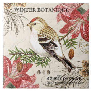 modern vintage french winter bird tile