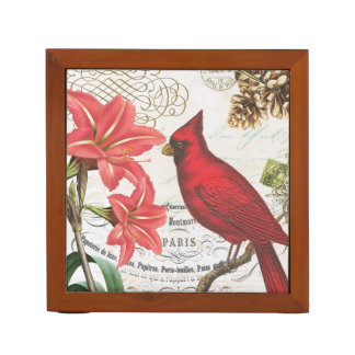 modern vintage french winter cardinal desk organizers