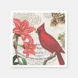 modern vintage french winter cardinal paper napkins