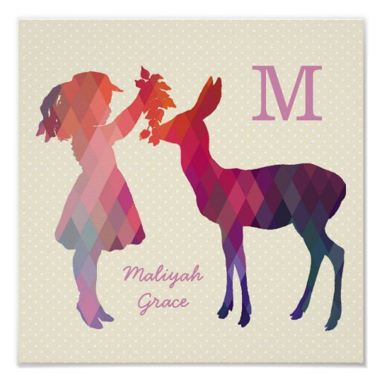 Modern Vintage Girl and Deer Nursery Wall Print