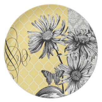 Modern Vintage graphic floral plate