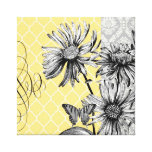 Modern Vintage graphic floral stretched canvas Canvas Print