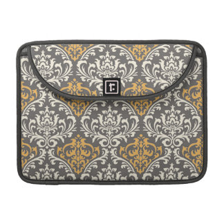 modern vintage grey and yellow damask sleeves for MacBooks