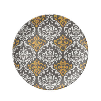 modern vintage grey and yellow damask porcelain plates