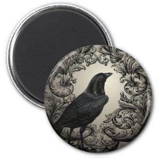 modern vintage halloween crow 6 cm round magnet