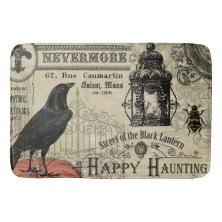 modern vintage Halloween crow and pumpkin Bath Mat