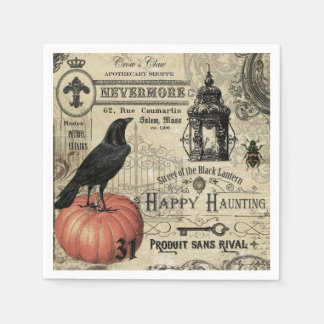 modern vintage Halloween crow and pumpkin Disposable Serviettes