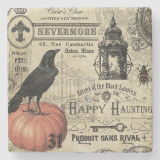 modern vintage Halloween crow and pumpkin Stone Beverage Coaster