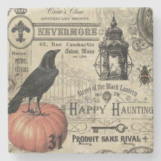 modern vintage Halloween crow and pumpkin Stone Coaster