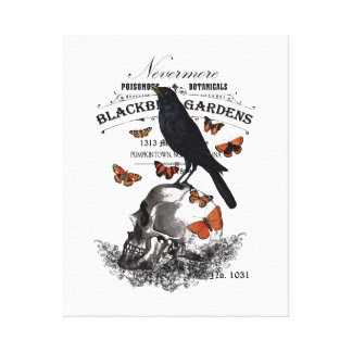 modern vintage halloween crow and skull canvas print