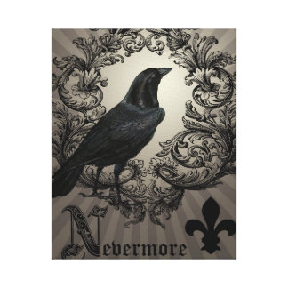 modern vintage halloween crow stretched canvas print