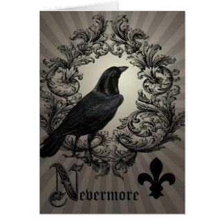 modern vintage halloween crow card