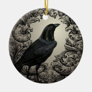modern vintage halloween crow christmas ornament