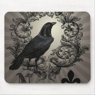 modern vintage halloween crow mousepad