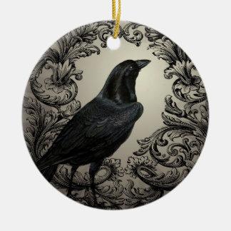 modern vintage halloween crow round ceramic decoration