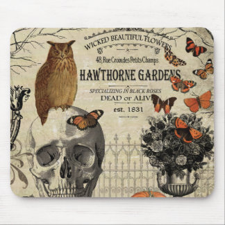 Modern vintage Halloween owl and skull Mouse Pad