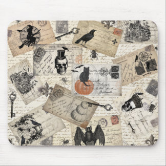 Modern vintage Halloween postcards Mouse Pad