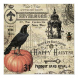 modern vintage halloween pumpkin and crow 13 cm x 13 cm square invitation card