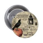 modern vintage halloween pumpkin and crow 6 cm round badge