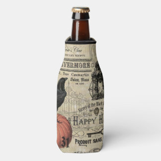 Modern Vintage Halloween pumpkin and crow Bottle Cooler