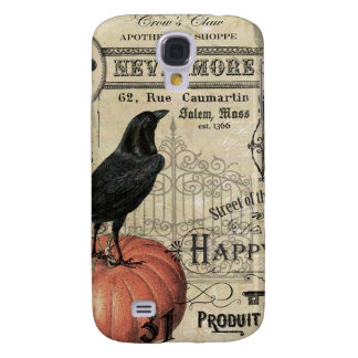 modern vintage halloween pumpkin and crow galaxy s4 case