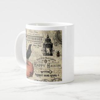 modern vintage halloween pumpkin and crow giant coffee mug