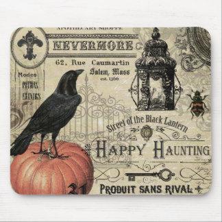 modern vintage halloween pumpkin and crow mousepads