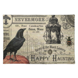 modern vintage halloween pumpkin and crow placemat