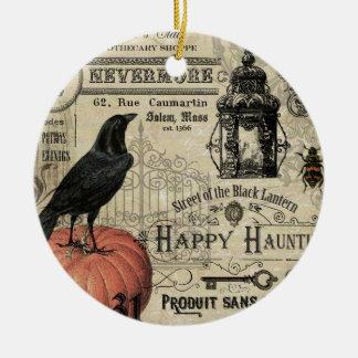 modern vintage halloween pumpkin and crow round ceramic decoration