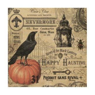 modern vintage halloween pumpkin and crow wood prints