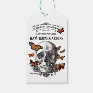 modern vintage Halloween skull and butterflies Gift Tags