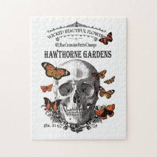 modern vintage Halloween skull and butterflies Jigsaw Puzzle