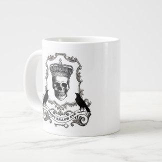 Modern vintage Halloween skull with crown Large Coffee Mug