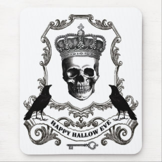 Modern vintage Halloween skull with crown Mouse Pad
