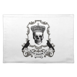 Modern vintage Halloween skull with crown Place Mat