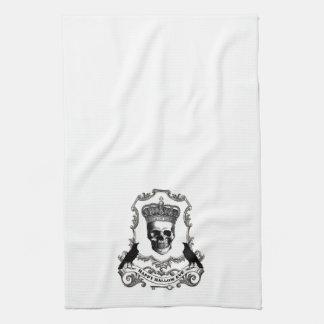 Modern vintage Halloween skull with crown Tea Towel