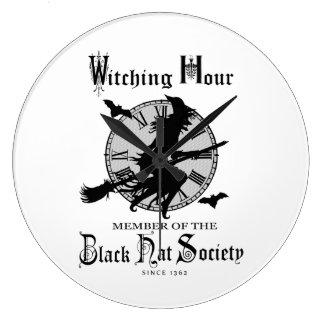 Modern Vintage Halloween witch Large Clock