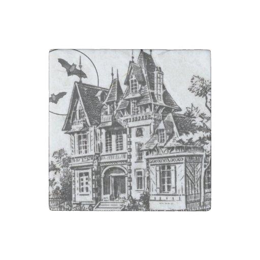 modern vintage haunted mansion stone magnet