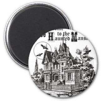 modern vintage haunted mansion fridge magnet